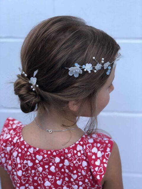 Braut-Blumenmädchen, lockere Steckfrisur mit self-made Headpieces